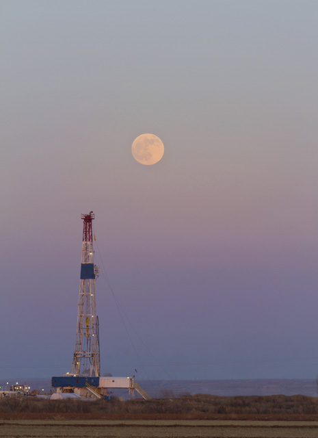 Patriot Oil Rig with Full Moon, Artesia, NM
